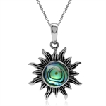 Abalone/Paua Shell 925 Sterling Silver Sun Ray Inspired Pendant w/ 18 Inch Chain Necklace