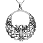 925 Sterling Silver Art Nouveau Filigree Circle Pendant w/ 18 Inch 1MM Box Necklace