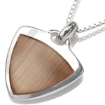 CLEARANCE! Brown Cats-eye Inlay Sterling Silver Pendant Necklace