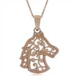 Natural White Diamond Rose Gold Plated 925 Sterling Silver Filigree Horse Pendant w/ 18