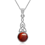 Cherry Amber 925 Sterling Silver Triquetra Celtic Knot Pendant w/ 18 Inch Chain Necklace