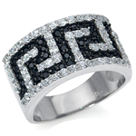 Black & White CZ Gold Plate 925 Sterling Silver Greek Key Fashion Ring