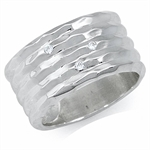 Natural White Diamond 925 Sterling Silver Hammered Eternity Ring