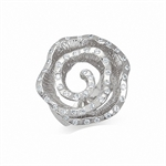 White CZ 925 Sterling Silver Textured ROSE/FLOWER Ring