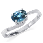 Natural London Blue Topaz 925 Sterling Silver Solitaire Ring