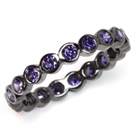 Amethyst Purple CZ Black Rhodium Plated 925 Sterling Silver Eternity Stack/Stackable Ring