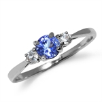 Petite Genuine Tanzanite & White S...