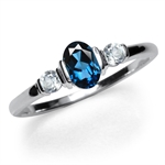 Petite 3-Stone Genuine London Blue...