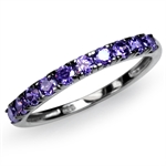Amethyst Purple CZ White Gold Plated 925 Sterling Silver Journey Ring