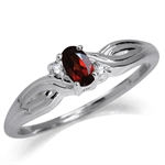 Natural Garnet & White Topaz 925 Sterling Silver Engagement Ring