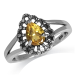 Natural Citrine 925 Sterling Silver Filigree Solitaire Ring