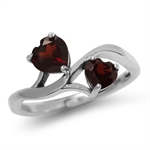 Natural Heart Shape Garnet 925 Sterling Silver Ring