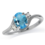 Topaz Blue CZ 925 Sterling Silver Engagement Ring