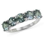 5-Stone Simulated Color Change Alexandrite 925 Sterling Silver Ring