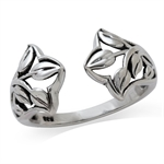 925 Sterling Silver Filigree Leaf Open Front Ring