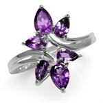 1.5ct. Natural African Amethyst 925 Sterling Silver Bypass Leaf Ring