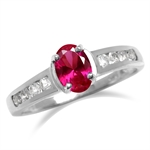 Synthetic Red Ruby White Gold Plat...