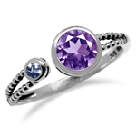 Amethyst & Tanzanite 925 Sterling Silver Balinese Style Open Front Ring