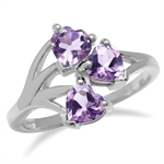 1.14ct. 3-Stone Heart Shape Natural Amethyst 925 Sterling Silver Vine Inspired Ring