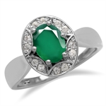 1.06ct. Emerald Green Agate 925 Sterling Silver Sun Ray Inspired Filigree Ring