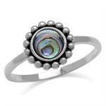 6MM Round Shape Abalone/Paua Shell 925 Sterling Silver Bali/Balinese Style Ring