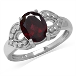 2.27ct. Natural Rhodolite Garnet White Gold Plated 925 Sterling Silver Dots Pattern Ring