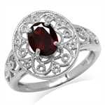 1.36ct. Natural Garnet White Gold Plated 925 Sterling Silver Victorian Style Filigree Ring