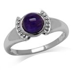 Cabochon Amethyst White Gold Plated 925 Sterling Silver Fashion Solitaire Ring