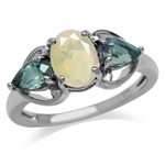 Opal & Color Change Alexandrite Doublet White Gold Plated 925 Sterling Silver Classic Ring