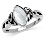 White Mother Of Pearl Inlay 925 Sterling Silver Triquetra Celtic Knot Solitaire Ring