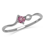 Petite Natural Rhodolite 925 Sterling Silver White Gold Plated Promise Ring