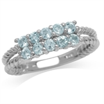 Genuine Blue Topaz White Gold Plated 925 Sterling Silver Double Rope Twist Ring