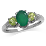 1.06ct. Natural Emerald Green Agate & Peridot White Gold Plated 925 Sterling Silver Ring