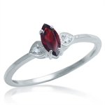 Natural Garnet & White Topaz 925 Sterling Silver Twin Heart Ring
