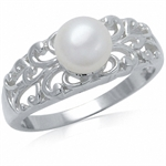 Cultured White Pearl 925 Sterling ...