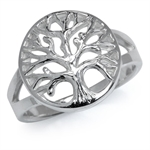 925 Sterling Silver TREE of LIFE FILIGREE Circle Ring