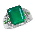 5.03ct. Natural Emerald Green Agate & Tsavorite 925 Sterling Silver Filigree Cocktail Ring