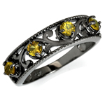 Natural Yellow Sapphire 925 Sterling Silver Victorian Style Filigree Journey Ring