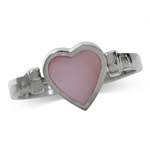 Reversible Heart Shape Pink Mother of Pearl Inlay 925 Sterling Silver Ring