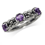 3-Stone Natural Amethyst 925 Sterling Silver Flower Pattern Ring