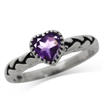 Natural Heart Shape Amethyst 925 Sterling Silver Rope Solitaire Ring