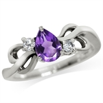 Natural African Amethyst & White Topaz 925 Sterling Silver Ribbon Ring