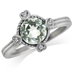 1.26ct. Natural Green Amethyst & White Topaz 925 Sterling Silver Petite Hearts Ring