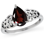 1.34ct. Natural Garnet 925 Sterling Silver Filigree Victorian Style Ring