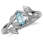 Genuine Blue Topaz 925 Sterling Silver Leaf Solitaire Ring