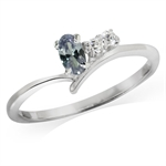 Simulated Color Change Alexandrite & White CZ 925 Sterling Silver Ring