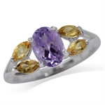 1.11ct. Natural Amethyst & Citrine 925 Sterling Silver Cocktail Ring
