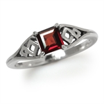 Natural Garnet 925 Sterling Silver Weave Solitaire Ring