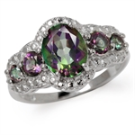 5.11ct. 5-Stone Mystic Fire Topaz White Gold Plated 925 Sterling Silver Ring