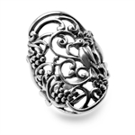 31MM 925 Sterling Silver BIRD in a TREE Filigree Ring
